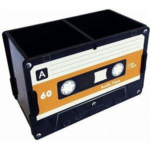 Porta Objetos Controle Remoto Acessórios Fita Cassete Preta