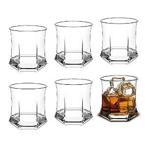 Conjunto 6 Copos De Vidro Para Uísque Whisky Roma Rocks 295ml Transparente Cisper