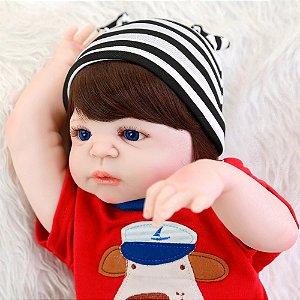 Bebê Reborn Menino Theo Corpo Inteiro Silicone Pode Dar Banho 55cm Tamanho Real