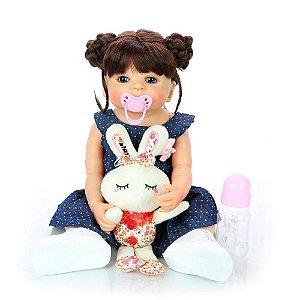 Bebê Boneca Reborn Realista Corpo Todo Silicone Pode Molhar Menina Maria 55 cm Olho Azul Vestido Ace
