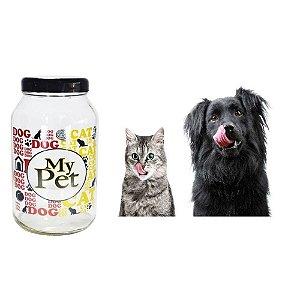Pote Porta Ração De Vidro Resistente 3kg Com Tampa Preta My Pet
