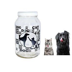 Pote Porta Ração De Vidro Resistente 3kg Com Tampa Branca Dog Cat