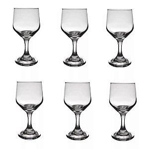 Jogo 6 Taças De Vinho 300ml Vidro Transparente Resistente Bistrô Cisper