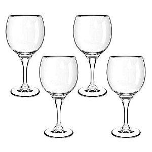 Jogo 4 Taças De Vinho 620ml Vidro Transparente Resistente Premiere Gran Vino Cisper