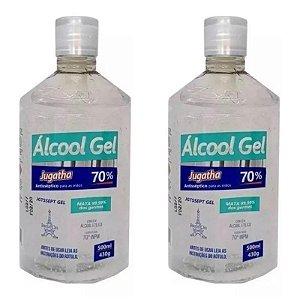 Kit 2 Unidades Álcool Gel 70% Combate Vírus Bactérias Germes Jugatha 500ml Cada
