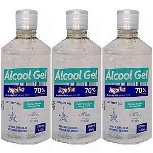 Kit 3 Unidades Álcool Gel 70% Combate Vírus Bactérias Germes Mata 99,99% Dos Germes Jugatha 500ml Cada
