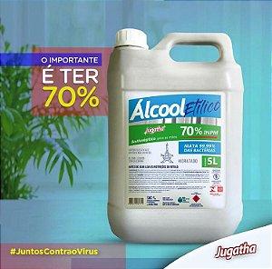Álcool Etílico 70% INPM Mata 99,99% Das Bactérias Hidratado 5 Litros