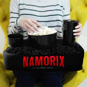 Almofada Porta Pipoca Personalizada Namorix Series Filmes Maratonas Presente Família Casal 2 Copos +1 Balde