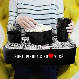 Kit Almofada Porta Pipoca 1 Balde + 2 Copos Eu Amo Você