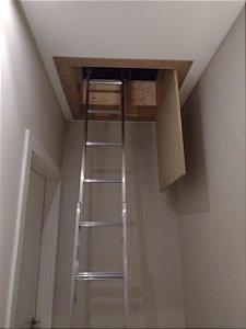 Escada de Alumínio para Sótão com 2 ou 3 lances até 3,20 mt ( Caixilho Sob Medida !! ) Merco Comercial