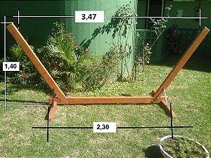 Base suporte de madeira para rede descanso