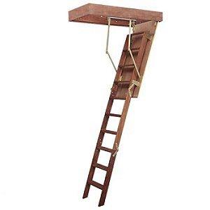 Escada de Sotão desvão de madeira altura teto até 3 Metros - Vão de 119 X 60 cm