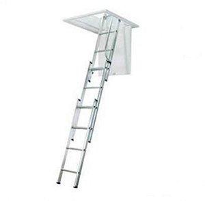 Escada de Alumínio para Sótão com 3 lances de 5 degraus cada / 3,20 mt
