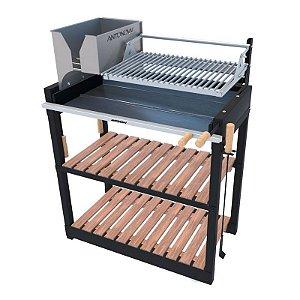 Parrilla Recoleta Preta / Simples / Grelha Regulável de Aço Inox 304 / Queimador de Aço Inox para Alta Temperatura