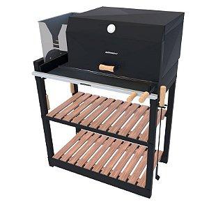 Parrilla Recoleta Preta / Completa / Grelha Regulável de Aço Inox 304 / Queimador de Aço Inox para Alta Temperatura