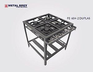 Fogão Industrial a Gás / 4 Bocas DUPLAS / Linha Econômica / Baixa Pressão / Metal Brey