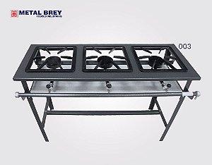 Fogão Industrial a Gás / 3 Bocas / Linha Stand / Alta Pressão / Metal Brey
