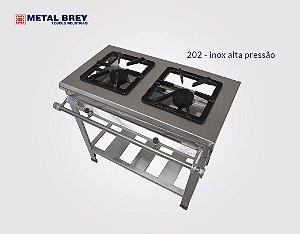 Fogão Industrial a Gás / 2 Bocas / Linha EXTRA INOX 304 / Baixa ou Alta Pressão / Metal Brey