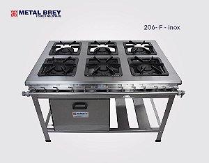 Fogão Industrial a Gás / 6 Bocas / FORNO / Linha EXTRA INOX 304 / Baixa ou Alta Pressão / Metal Brey
