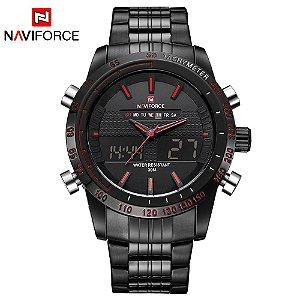 62cf9d6d19f Relógio de Luxo Masculino NAVIFORCE Full Steel Wrist
