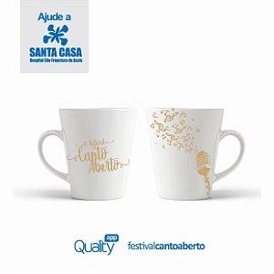 Caneca Canto Aberto Porcelana 325ml Dourada