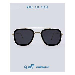 Óculos Executivo Preto com Dourado