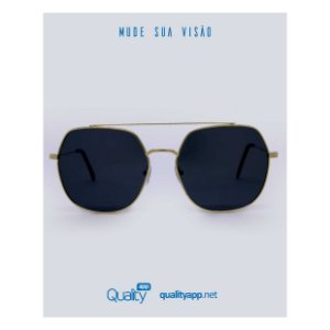 Óculos Link Preto com Dourado