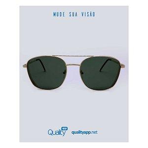 Óculos London Dourado com Lente Escura
