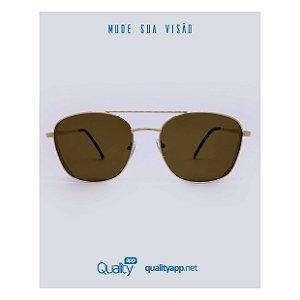 Óculos London Marrom com Dourado