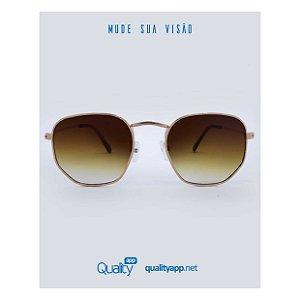Óculos Detroit Marrom e Dourado Degradê