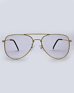 Óculos Aviador Dourado Transparente