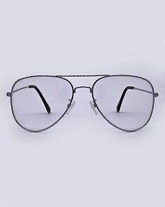 Óculos Aviador Prata Transparente