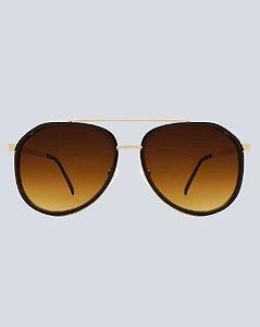 Óculos Aviador Durango Marrom com Dourado
