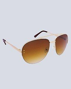 Óculos Aviador Alabama Marrom com Dourado