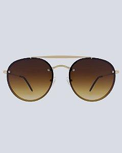 Óculos Aviador Colina Marrom com Dourado