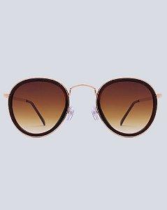 Óculos Milão Marrom com Dourado
