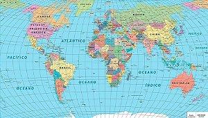 Mapa mundi político adesivado