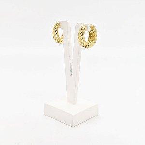Brinco argola articulada espiral Fernanda banhado em ouro 18k