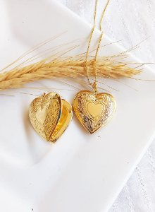 Colar coração relicário banhada a ouro 18k