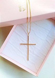 Colar cruz palito Helena banhada a ouro 18k