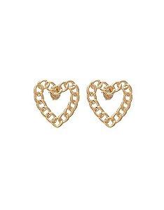 Brinco argola formato coração corrente banhado a ouro 18k