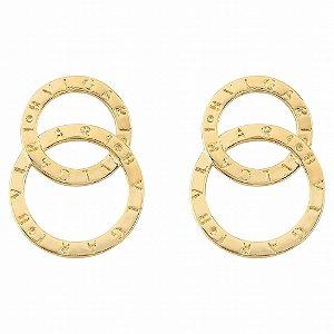 Brinco círculos duplo  grife bvl banhado a ouro 18k