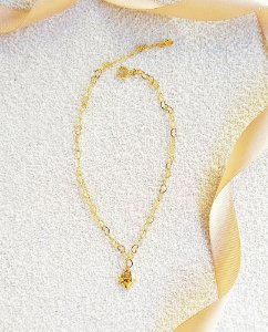 Tornozeleira corrente coração com pingente banhada a ouro 18k
