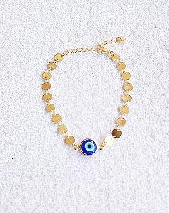 Pulseira olho grego azul escuro com corrente de medalhinha luz chapada banhada a ouro 18k