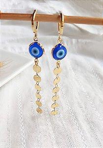 Brinco click olho grego azul com medalhinhas chapadas Luz banhado a ouro 18k