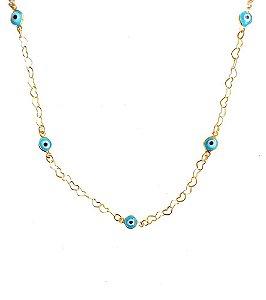 Choker olho grego corrente elos corações entrelaçados branco/azul banhada em ouro 18k