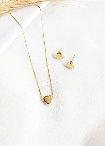 Conjunto com 1 coração e par de brinco coração Lili banhado a ouro 18k