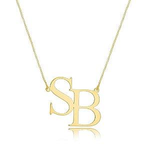Colar monograma com 2 letras lisas personalizadas banhado a ouro 18k (PZ ENTREGA  45 DIAS)