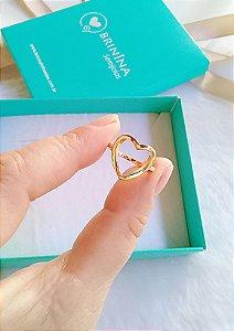Anel coração vazado banhado em ouro 18k