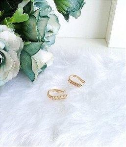 Piercing fake microcravejado zircônias brancas banhado a ouro 18k